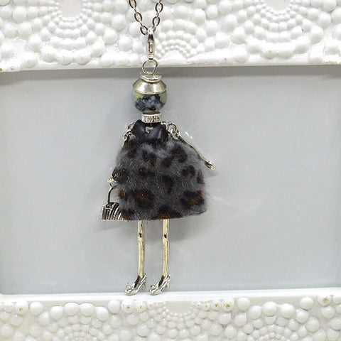 French Doll Necklace with Grey Trendy Faux Fur Dress