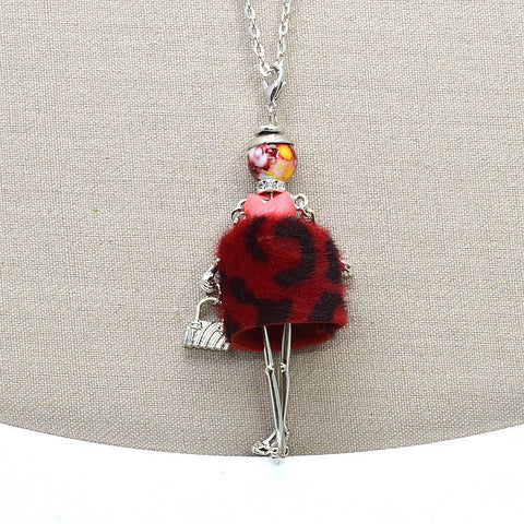 French Doll Necklace with Trendy Red Faux Fur Dress