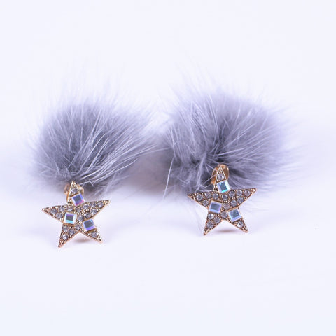 Korean Two Sides Crystal Star and Faux Fur Earrings