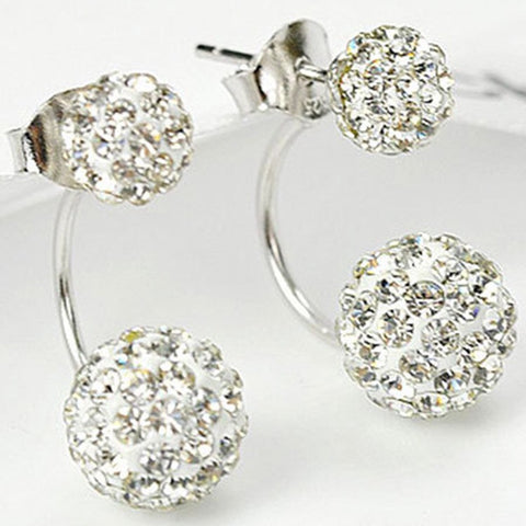 Two Sides Crystal Balls Studded Earrings (Sold Out)