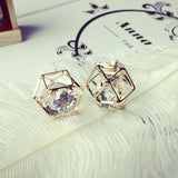 Two Sides Crystal Studded Earrings with Geometric Hollow Design