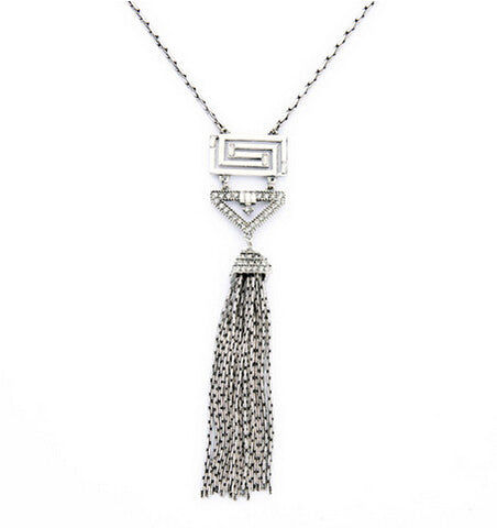 Long Tassel Silver Necklace with Rhinestone Charm
