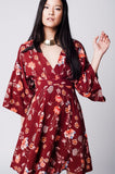 Maroon floral printed kimono dress with open back
