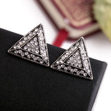 Crystal Geometric Triangle Stud Earrings