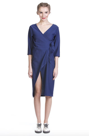 Royal Blue Wrap Dress with deep slit
