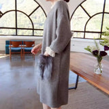 Korean Style Midi Dress with Faux Fur Patch Pocket