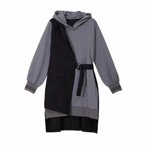 Black/ Gray fake 2 pieces Hoodie Dress with Asymmetrical Vest