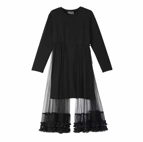 Unique Black Tunic with Outer Side Mesh Long Veil- SOLD OUT