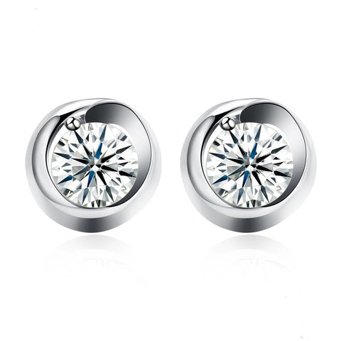925 Sterling Silver Classic Round Zircon Stud Earrings