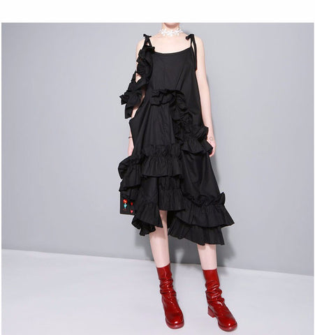 Romantic Ruffles Spaghetti Strap A-Line Asymmetric Dress