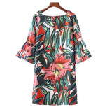 Floral dress with square neckline and flare sleeves