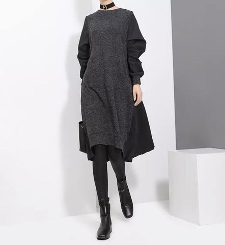 Black Stylish Long Sleeve Back Pleated Dress