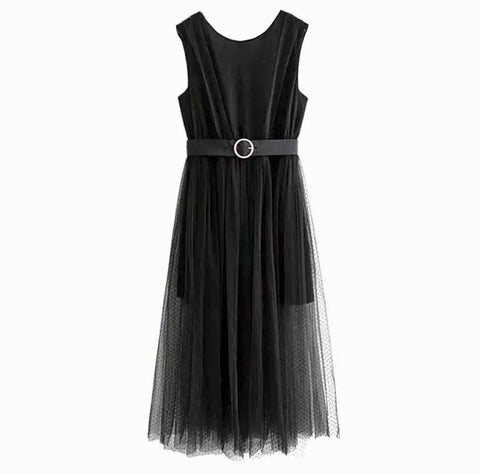 Black Sleeveless Mesh Maxi Dress with Elastic Waist and Removable Belt