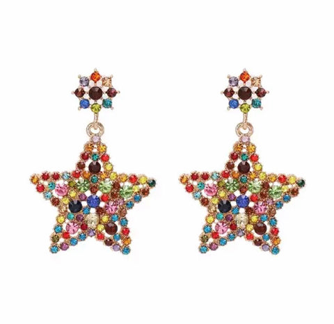 Colorful Geometric Statement Crystal Earrings