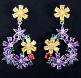 Elegant Purple Crystal Flower Ring Drop Earrings