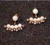 2 Sides Faux Pearls Jacket with Rhinestone Earrings