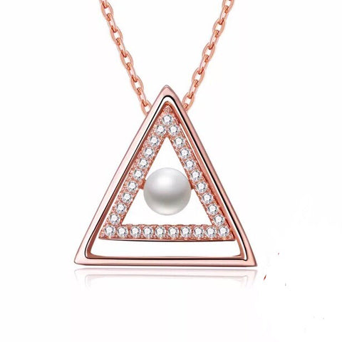 Triangle Faux Pearls Sterling Silver Rose Gold Color Necklaces & Pendants