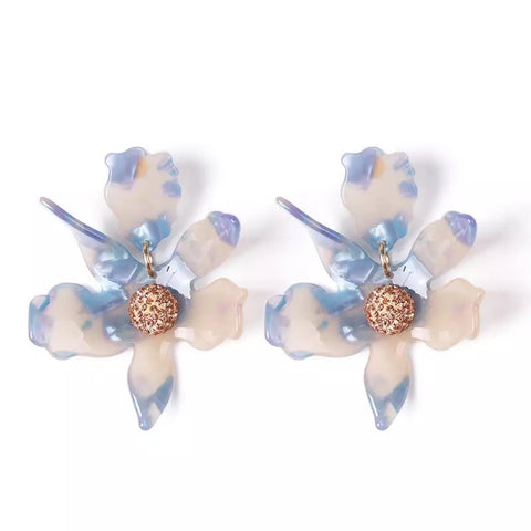 Unique Smoke Silver/ Blue Flower Statement Earrings