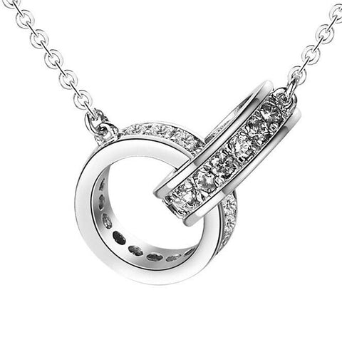 925 Sterling Silver Locked Double Ring Crystal Pendant Necklace