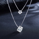 925 Sterling Silver Rubik's cube Pendants Multilayer Jewelry Set