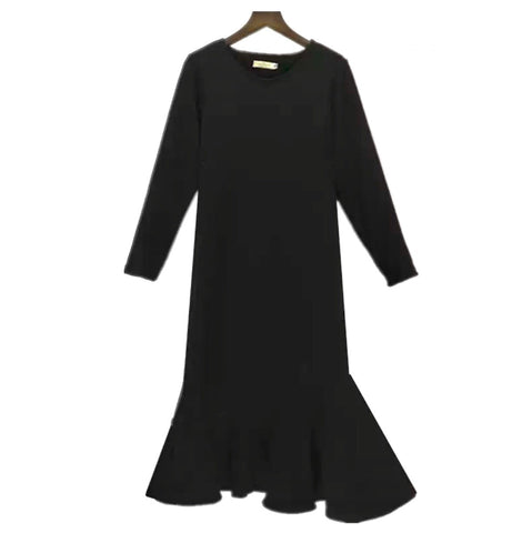 Warm Long Sleeve Sweat Dress With Ruffle Hem