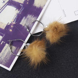 Fur Ball Dangle Earrings- Out Of Stock