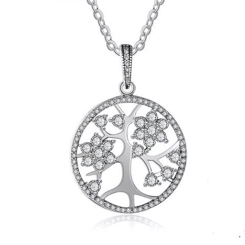 Tree Of Life Cubic Zirconia 925 Sterling Silver Pendant Necklace