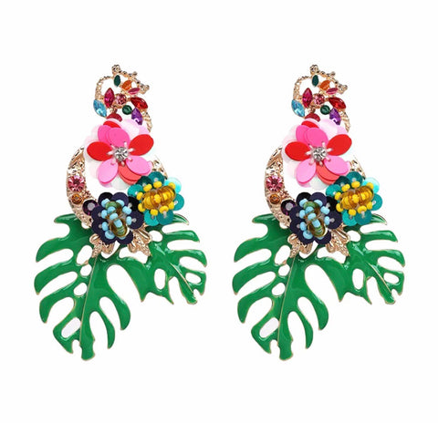 Flowers and leaf Statement Drop Earrings