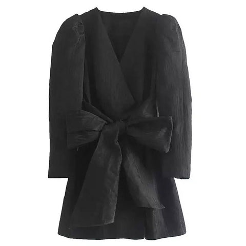 Black  V Neck Mini Dress Long Puff Sleeve and Bow Tie.