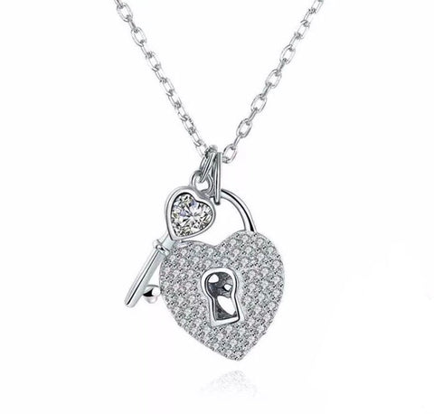 925 Sterling Silver Necklace Heart Lock & Key Design