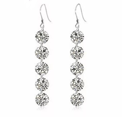 100% Sterling Silver 5 CZ Long Drop Earrings