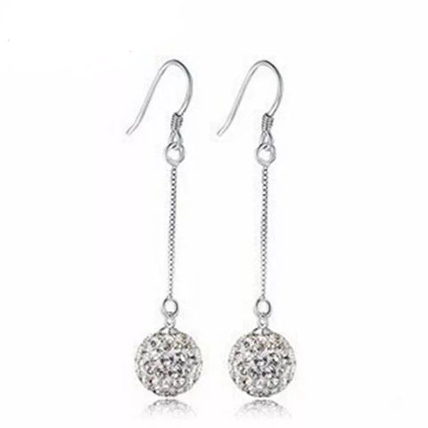 100% Sterling Silver Earrings with Sparkling Balls