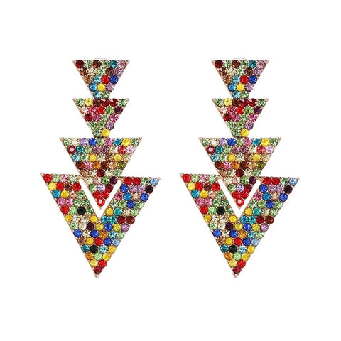 Multicolored Rhinestone Triangular Long Statement Earrings