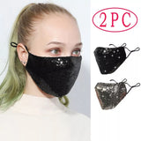 2pcs Sequin Washable and Reusable Face Mask