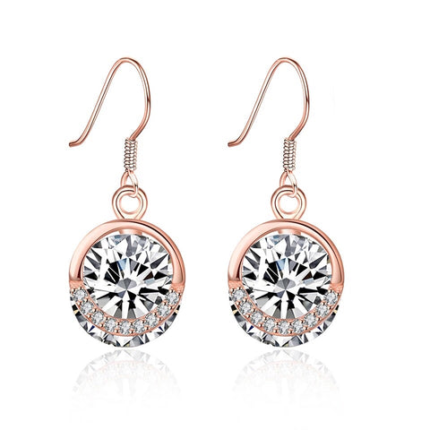 925 Sterling Silver Rose Gold Drop Zircon Earrings