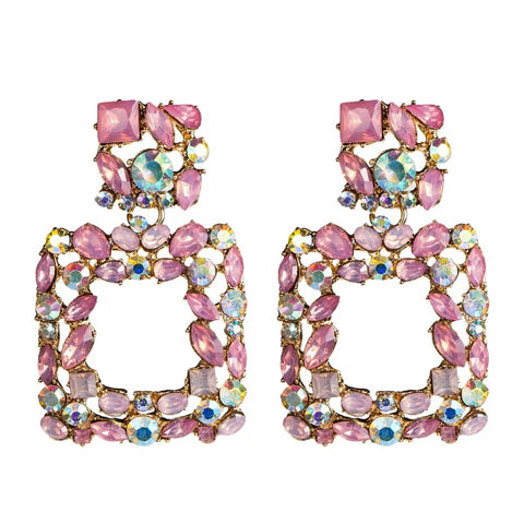 Trendy Rectangular Statement Rhinestone Earrings