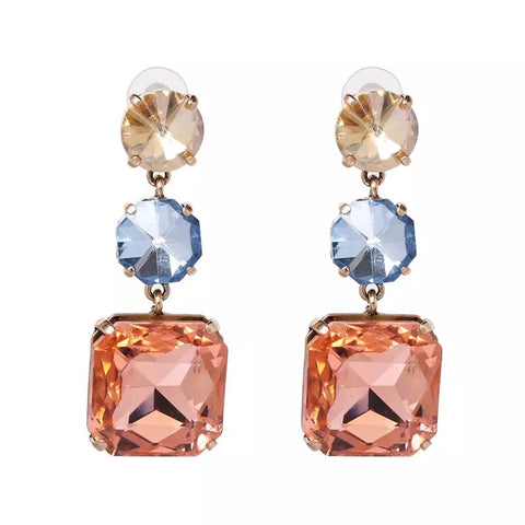 Elegant Statement Acrylic Crystal Drop Earrings