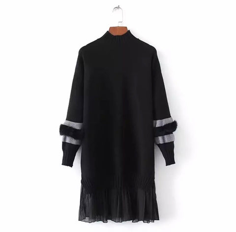 Sweater Mini Dress with Faux Fur Sleeves and Chiffon Pleated Hem -  SOLD OUT