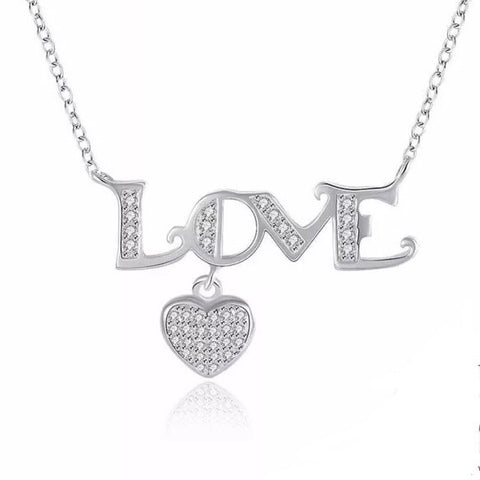 925 Sterling Silver Necklace Letter LOVE with Heart CZ Stone