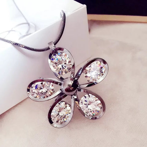 Korean Crystal Flower Shape Pendant Long Chain Necklace