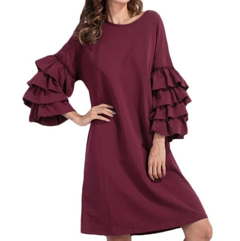Wine Red Relax Fit Dress with Ruffles Sleeves