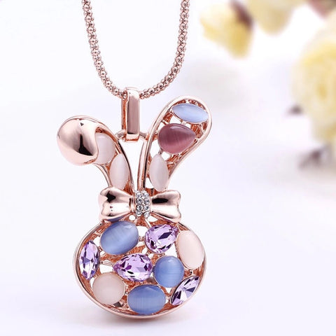 Rose Gold Bunny Crystal Long Necklace