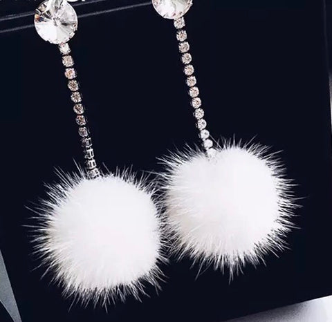 White Faux Fur Ball with Rhinestone Drop Earrings
