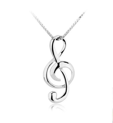 Musical Note 925 Sterling Silver Pendants Necklace