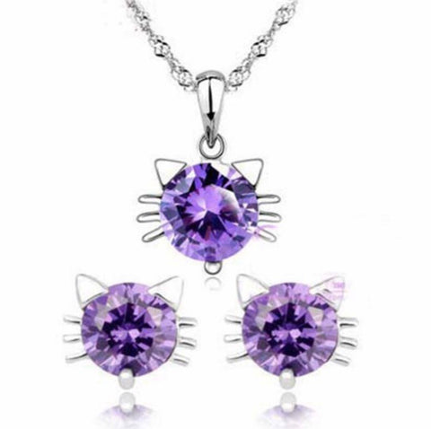 100% Sterling Silver Kitty Jewelry Set