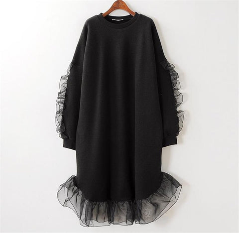 Relax Fit Knit Dress with Organza Ruffles