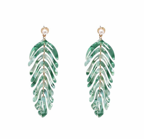 Long Green Leaf Earrings