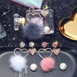 Stylish Unmatched Faux Fur Ball Rhinestone Drop Earrings