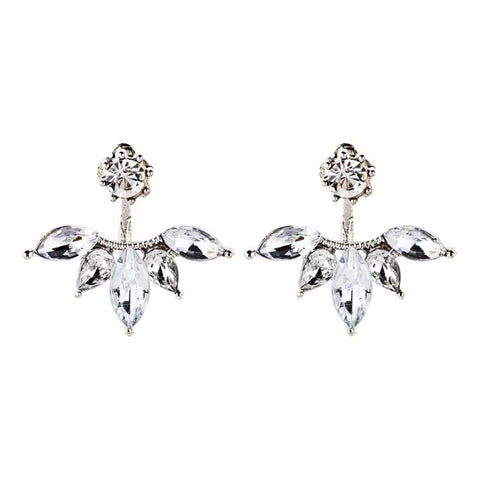 Elegant 2 Sides Crystal Stud Earrings
