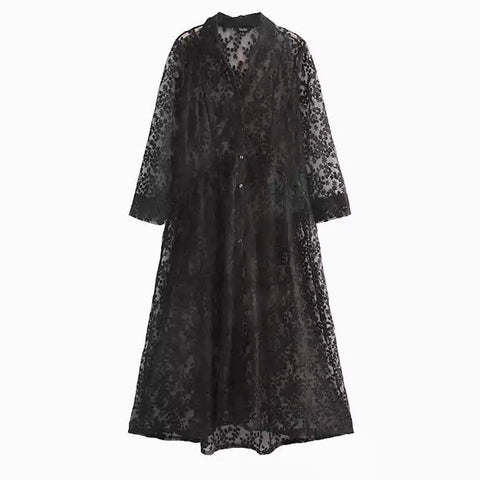Sexy Transparent Lace Shirt Dress with Three Quarter Sleeve- SOLD OUT